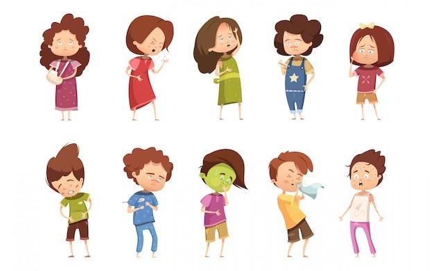 Ícone de retrô dos desenhos animados de doença colorida infantil com meninas e meninos diferentes graus de vetor de doença Vetor grátis