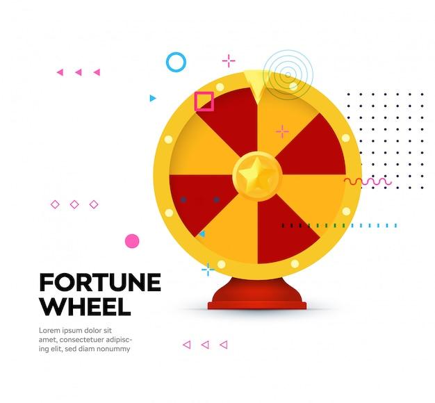 Ícone de roda da fortuna em fundo de estilo memphis. Vetor Premium