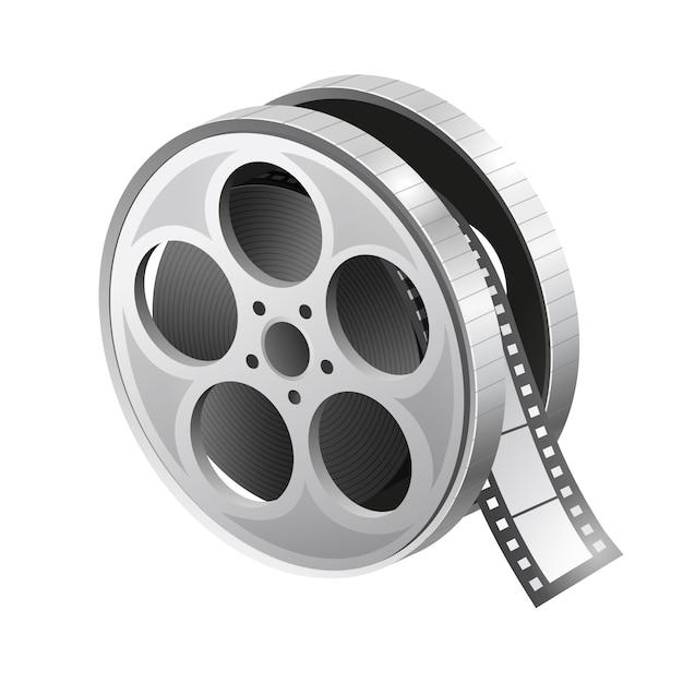 Ícone de rolo de filme. bobina de filme. carretel de filme realista. ilustração em fundo branco. gráfico. Vetor Premium