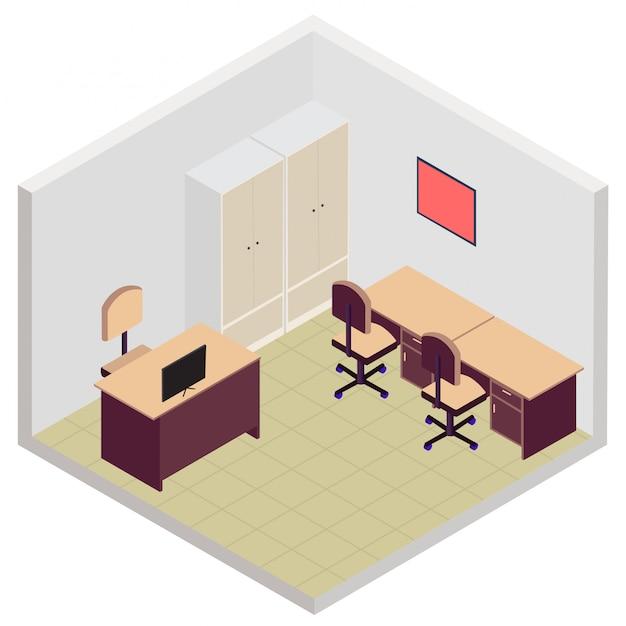 Ícone de sala de escritório isométrica Vetor Premium
