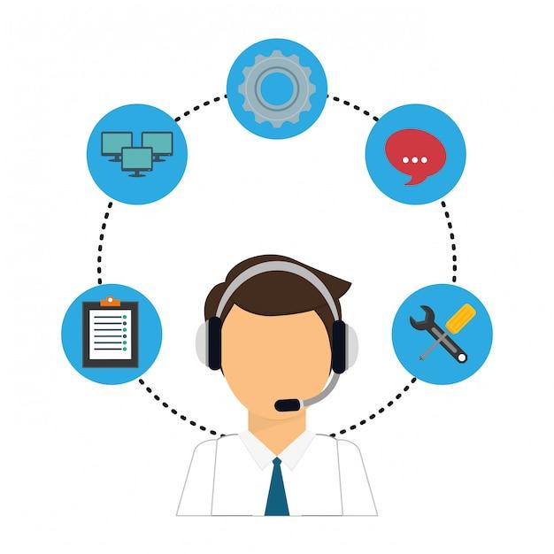 Ícone de serviço técnico e call center Vetor Premium
