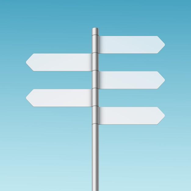 Ícone de seta de placa de sinalização de direção em branco sobre fundo Vetor Premium