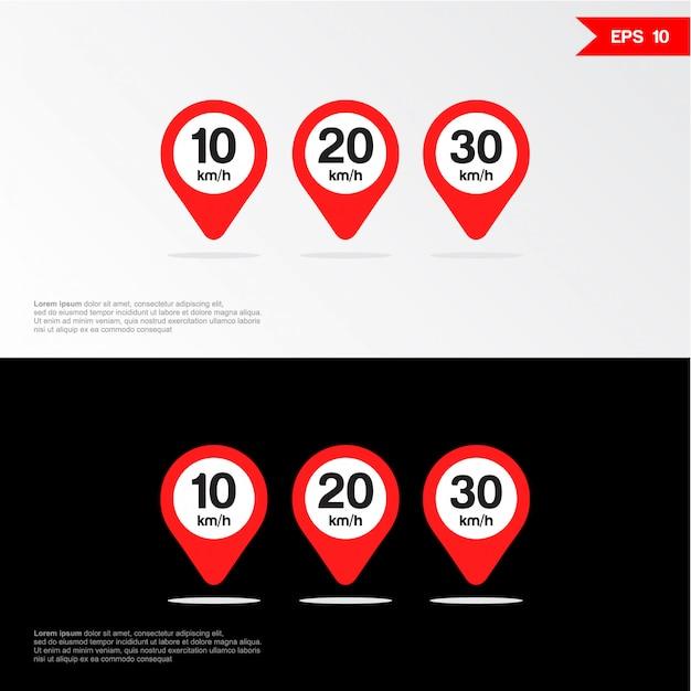 Ícone de sinal de limite de velocidade. Vetor Premium