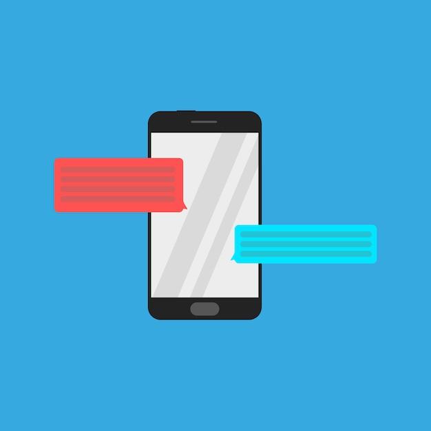 Ícone de smartphone com bolhas do bate-papo Vetor Premium
