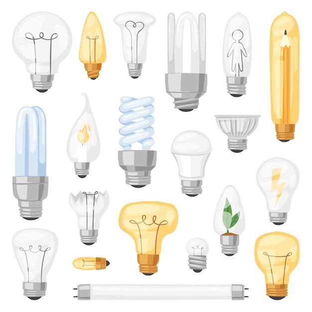 Ícone de solução de idéia de lâmpada de lâmpada e lâmpada de iluminação elétrica cfl ou eletricidade led e ilustração de luz fluorescente em fundo branco Vetor Premium