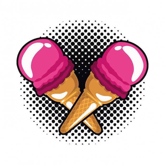 Ícone de sorvete pop art Vetor Premium