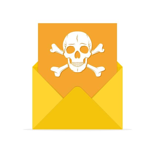 Ícone de spam de correio em ilustração de design plano Vetor Premium