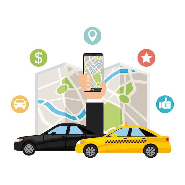 Ícone de tecnologia de app de serviço de transporte Vetor Premium