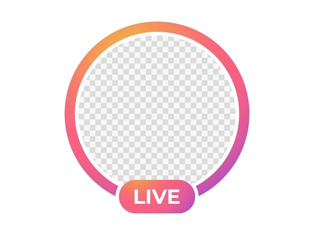 Ícone de transmissão ao vivo. moldura para foto. Vetor Premium