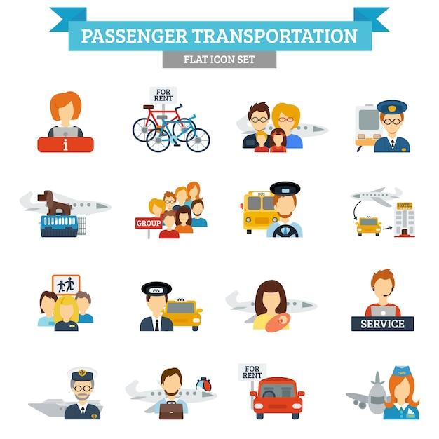 Ícone de transporte de passageiros plano Vetor grátis