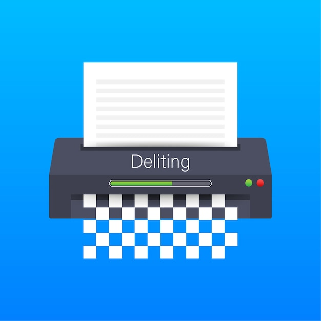 Ícone de trituradora de papel documento de proteção de informações de escritório de negócios Vetor Premium