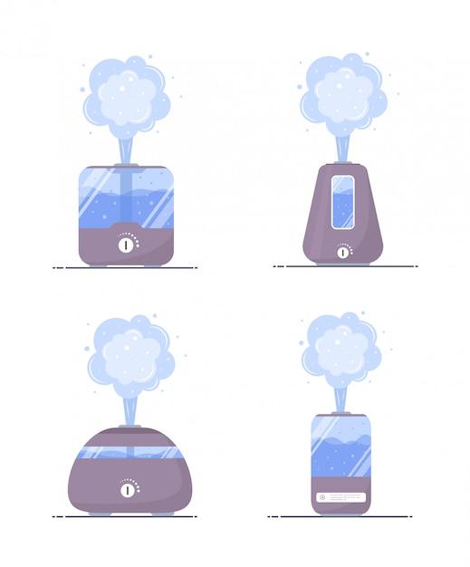 Ícone de umidificador de ar. conjunto de microclima de purificadores ultrassônicos para uso doméstico. umidade saudável. ilustração moderna em estilo cartoon plana. Vetor Premium