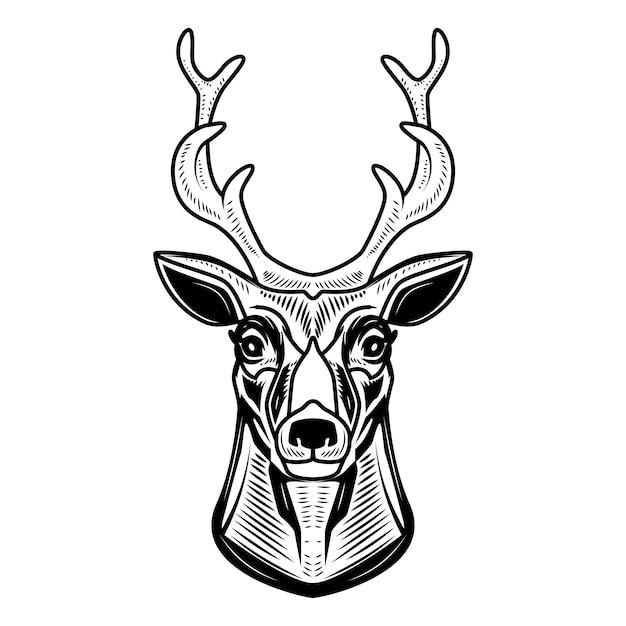 Ícone de veado em fundo branco. elemento para o logotipo, etiqueta, emblema, sinal. ilustração Vetor Premium