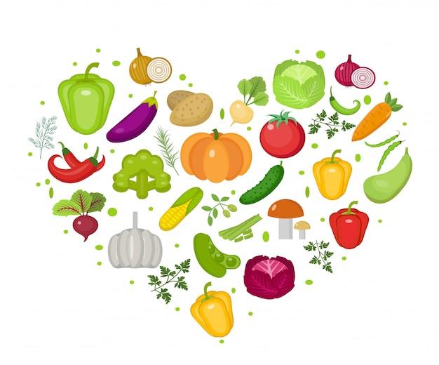 Ícone de vegetais em forma de coração. estilo simples. isolado no fundo branco. estilo de vida saudável, vegan, dieta vegetariana, comida crua. ilustração. Vetor Premium
