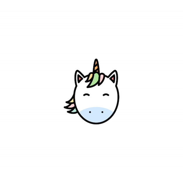 Ícone de vetor bonito dos desenhos animados de cara de unicórnio Vetor Premium