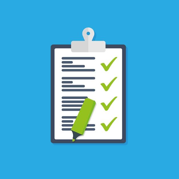 Ícone de vetor da lista de verificação do ícone da área de transferência Vetor Premium