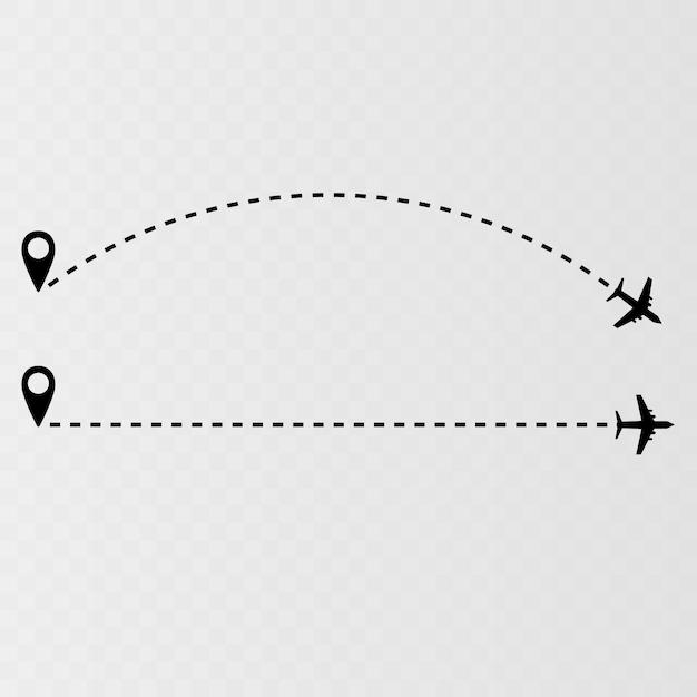 Ícone de vetor de caminho de linha aérea de rota de voo de avião com ponto de partida e rastreamento de linha de traço Vetor Premium