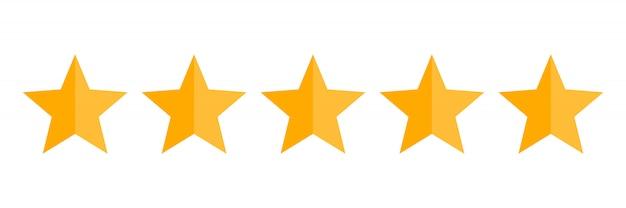 Ícone de vetor de classificação de cinco estrelas Vetor Premium