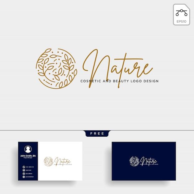 Ícone de vetor de logotipo de linha beleza cosméticos naturais Vetor Premium