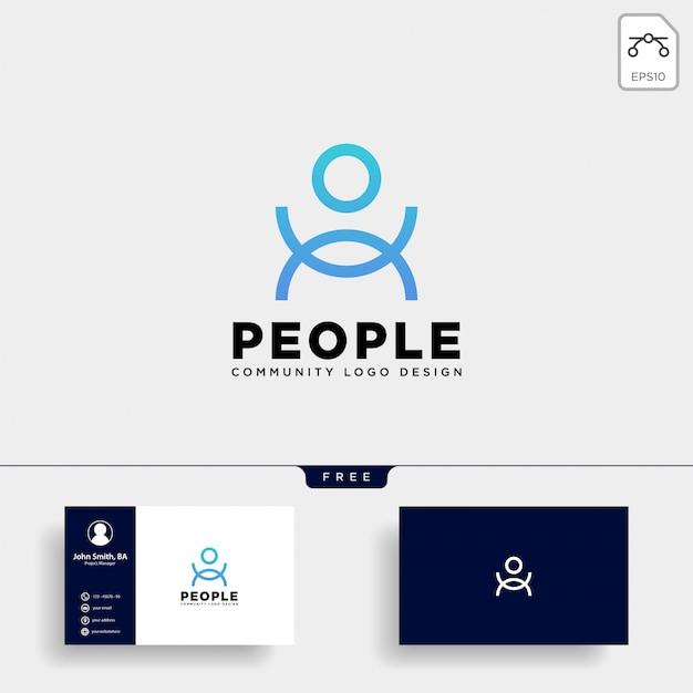 Ícone de vetor de logotipo humano modelo isolado Vetor Premium