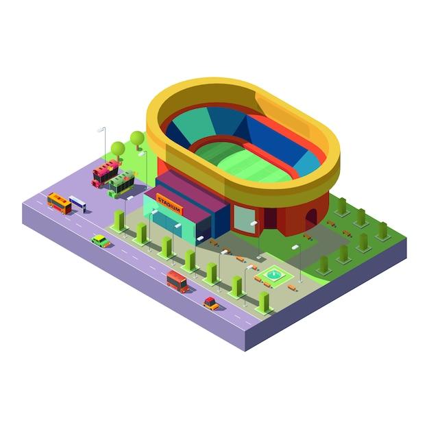 Ícone de vetor de projeção isométrica de estádio da cidade Vetor grátis