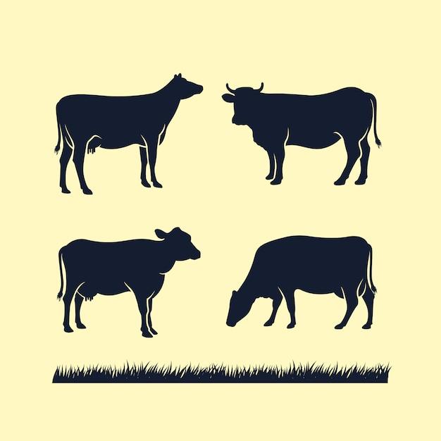 Ícone de vetor de silhueta de vaca Vetor Premium