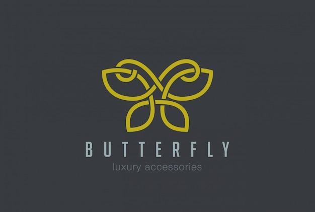 Ícone de vetor linear de logotipo de jóias borboleta Vetor grátis