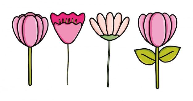 Ícone decorativo bonito jardim de flores Vetor Premium