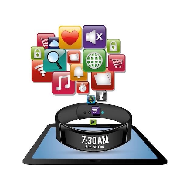 Ícone digital de inovação de tablet de pulseira inteligente Vetor Premium