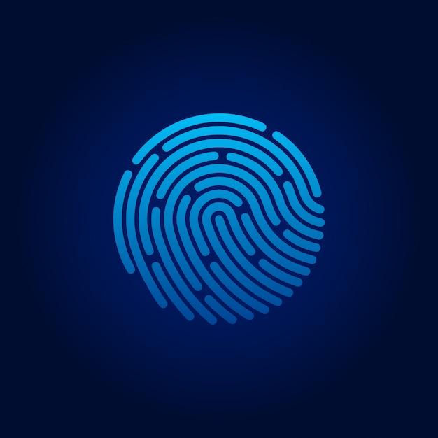 Ícone do aplicativo de identificação. impressão digital. conceito de proteção de dados pessoais. estoque de ilustração vetorial Vetor Premium