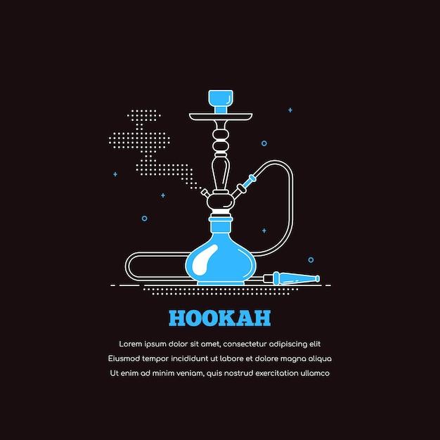Ícone do cachimbo de água isolado no fundo preto. bandeira do conceito de shisha de fumar. ilustração de arte de linha de estilo simples para bar e menu de narguilé Vetor Premium