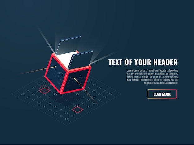 Ícone do conceito de compra de produto digital, adição de jogo, bloco de armazenamento de dados Vetor grátis