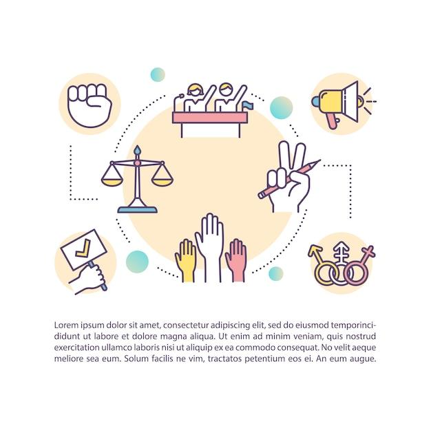 Ícone do conceito de direitos civis com texto. proteção das liberdades individuais. processo de dessegregação. modelo de página ppt. elemento de folheto, revista, livreto com ilustrações lineares Vetor Premium