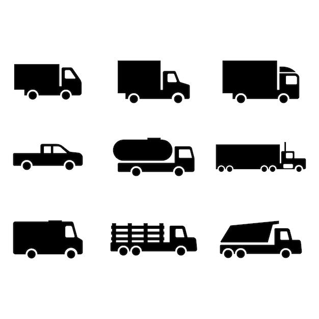 Ícone do conjunto de caminhões Vetor Premium