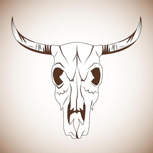 Ícone do crânio de touro Vetor Premium