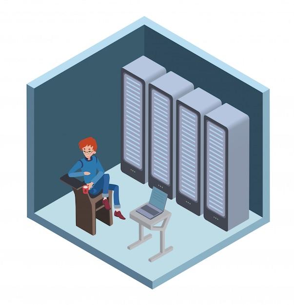Ícone do data center, administrador do sistema. homem sentado em frente ao computador na sala do servidor. ilustração em projeção isométrica, sobre fundo branco. Vetor Premium