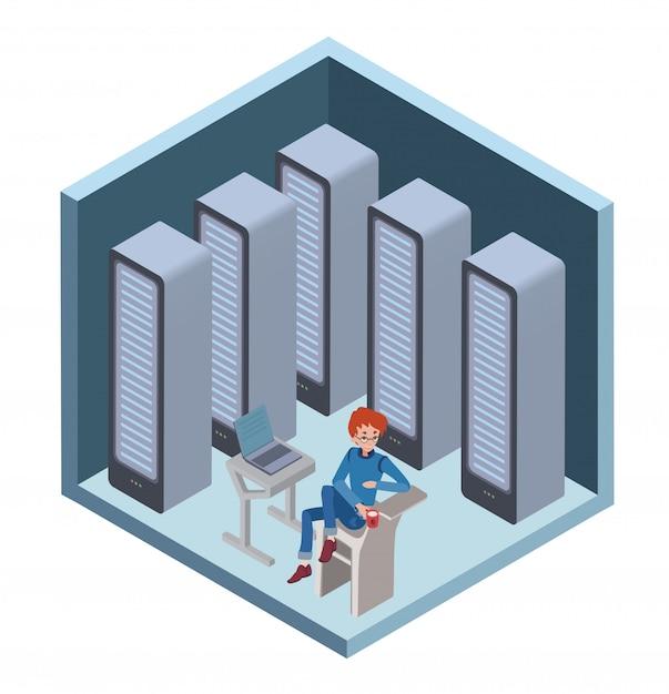Ícone do datacenter, administrador do sistema. homem sentado no computador na sala do servidor. ilustração na projeção isométrica, isolada no branco. Vetor Premium