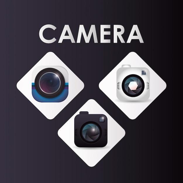 Ícone do design da câmera Vetor Premium
