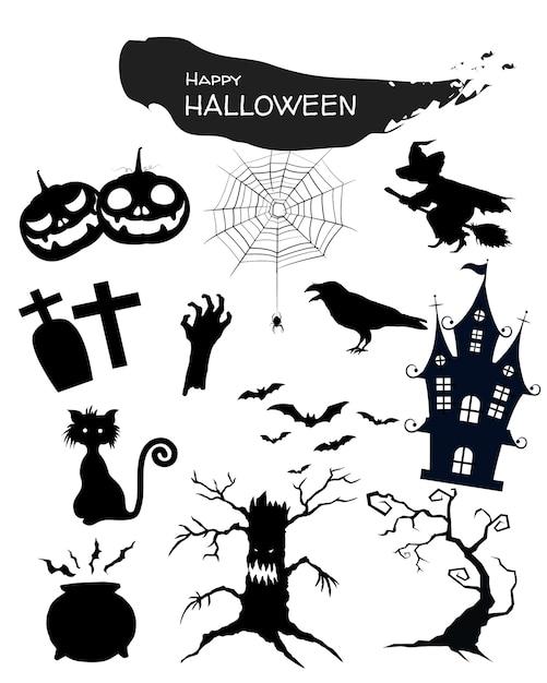 Ícone do dia das bruxas ajustado no fundo branco. Vetor Premium