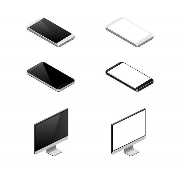 Ícone do dispositivo isométrico. isometria de smartphone, monitor Vetor Premium
