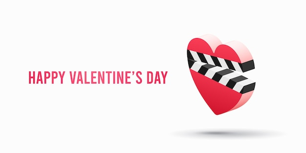 Ícone do filme romântico com badalo de coração isolado. ilustração do dia dos namorados Vetor Premium