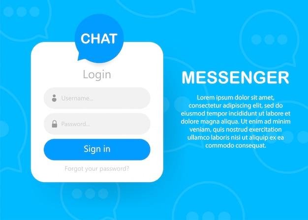 Ícone do formulário de login página do formulário de login autorização de bate-papo Vetor Premium