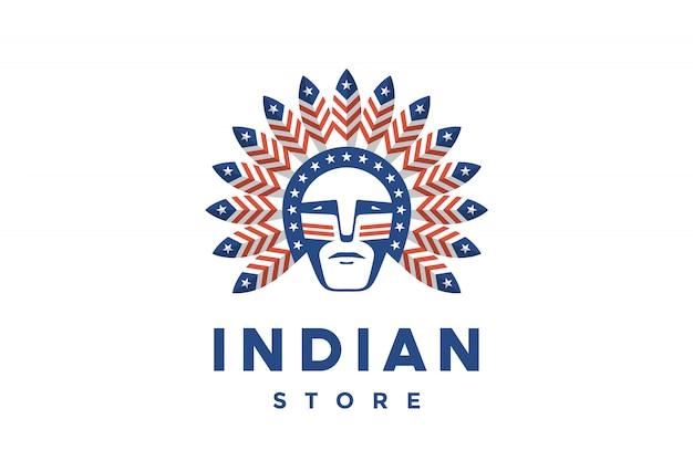 Ícone do homem americano com penas de chefe índio na cabeça Vetor Premium