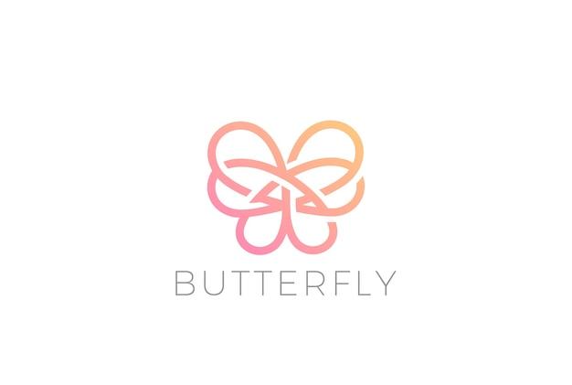 Ícone do logotipo da borboleta. estilo linear Vetor Premium