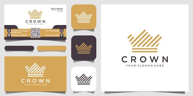 Ícone do logotipo da coroa com estilo de listras de linha e cartão de visita Vetor Premium