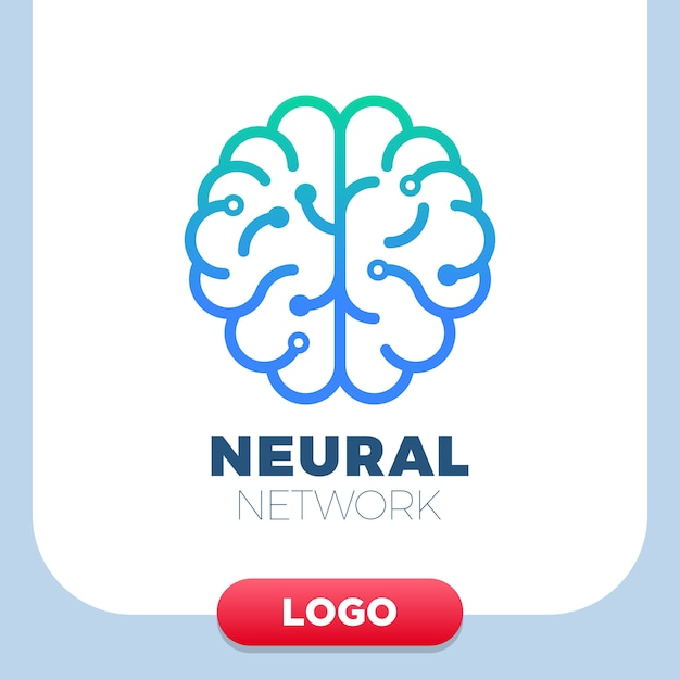 Ícone do logotipo do cérebro humano das redes neurais. Vetor Premium