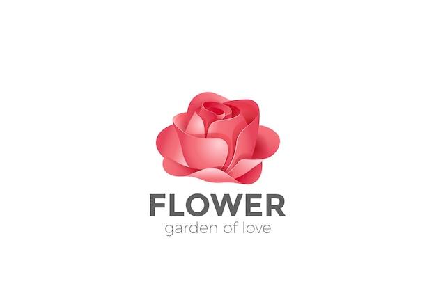 Ícone do logotipo do jardim de flores rosas. Vetor grátis