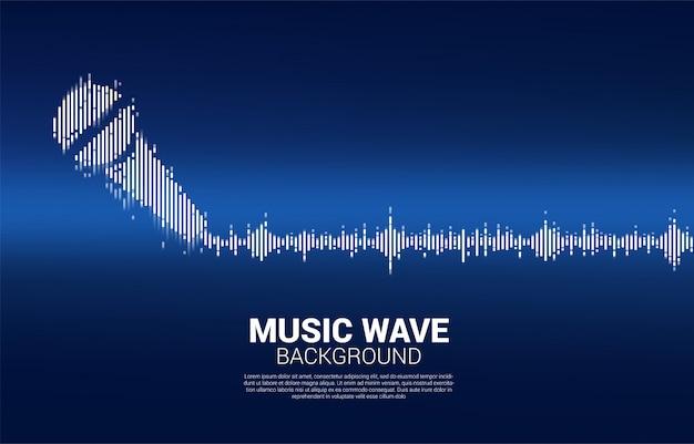 Ícone do microfone da onda sonora fundo do equalizador. Vetor Premium