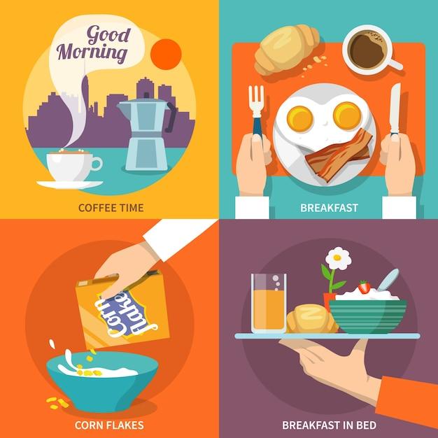 Ícone do pequeno almoço plano Vetor grátis