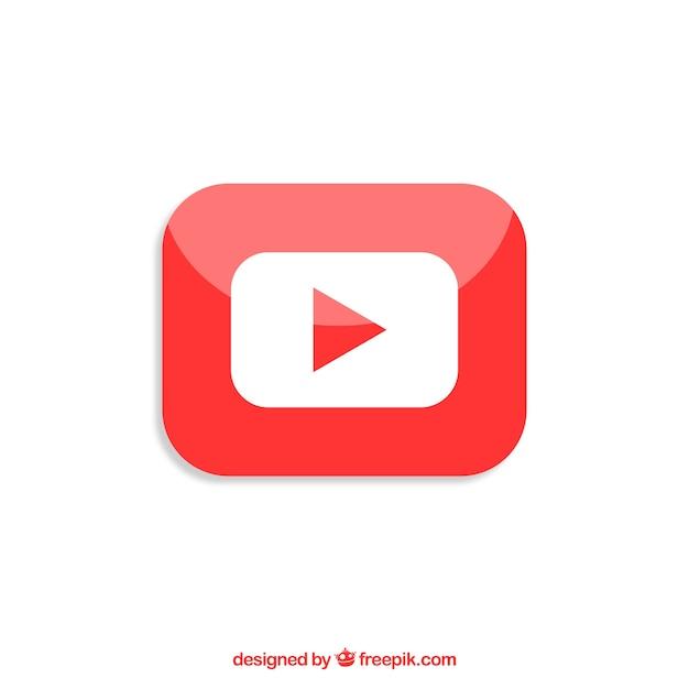 Ícone do player do youtube com design plano Vetor grátis